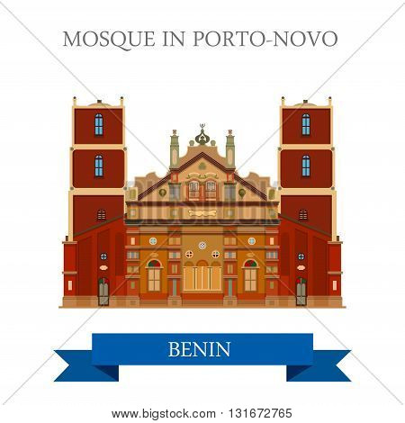 Mosque Porto-Novo Benin vector flat Africa attraction landmark