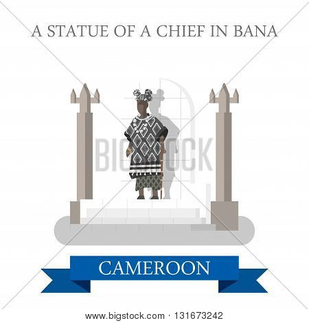 Statue Chief Banca Cameroon vector flat attraction landmarks