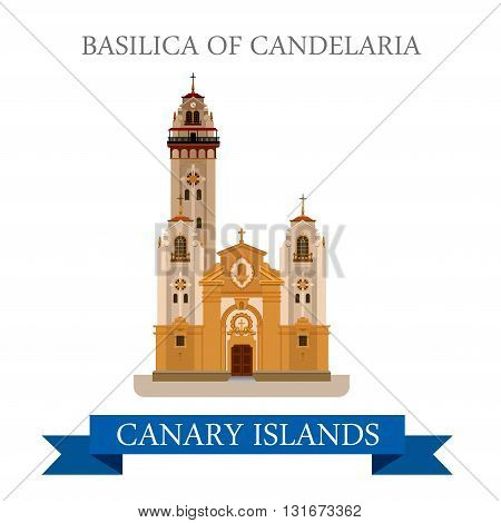 Basilica Candelaria Canary Islands vector flat Africa attraction