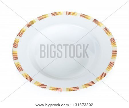 Empty Circle white plate isolated on a white background.