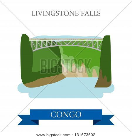 Livingstone Falls Congo vector flat Africa attraction landmarks