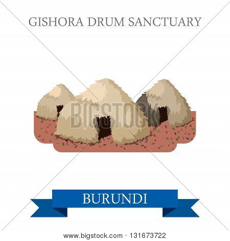 Gishora Drum Sanctuary in Burundi vector flat Africa attraction
