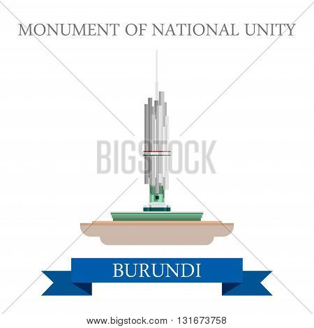 Monument of National Unity Burundi vector flat Africa attraction