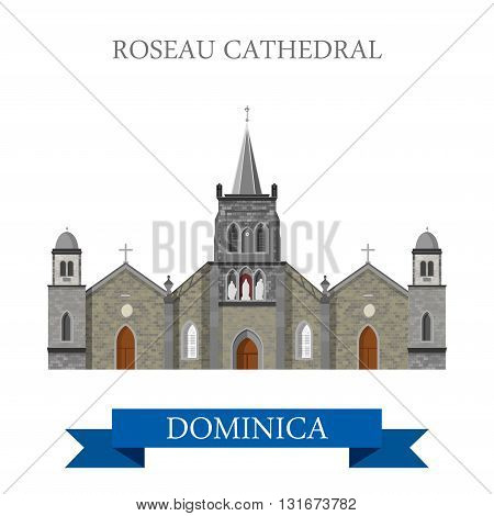 Roseau Cathedral Dominica vector flat Africa attraction landmark