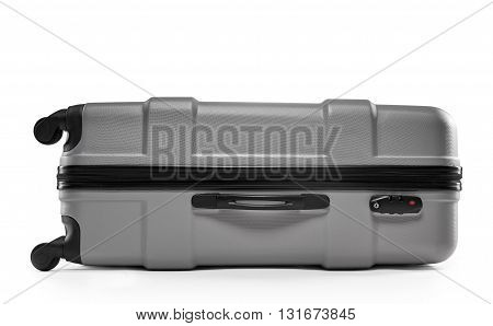 a grey suitcase isolated on a white background