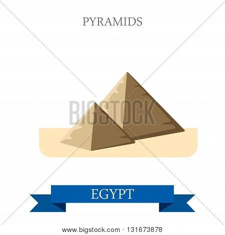 Pyramids in Cairo Egypt vector flat Africa attraction landmarks