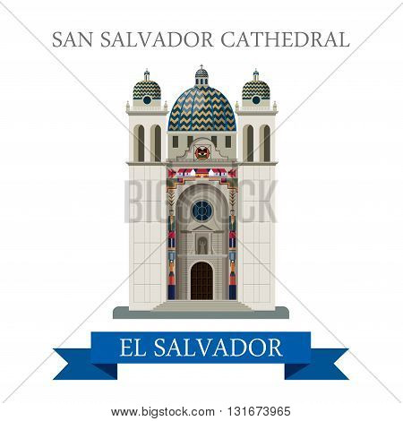 San Salvador Cathedral in El Salvador vector flat attraction