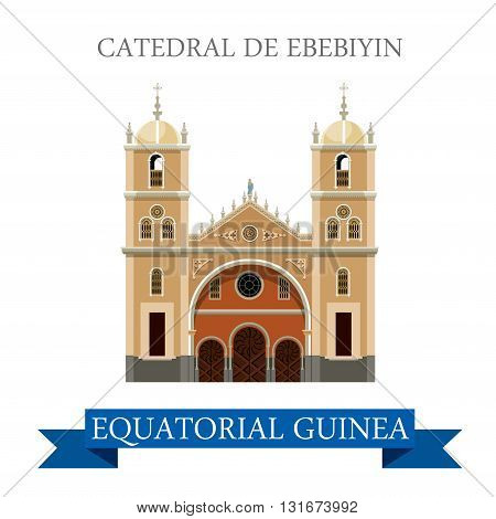 Catedral de Ebebiyin Equatorial Guinea vector flat attraction