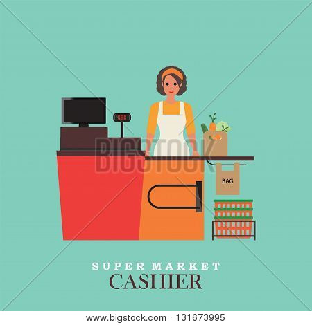 Woman cashier smiles and standing in supermarket Sales clerk working with customers at the technology store or departmentFlat vector illustration.
