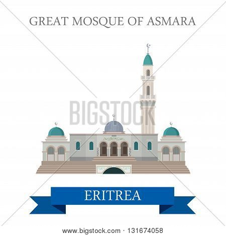 Great Mosque in Asmara Eritrea vector flat attraction landmarks