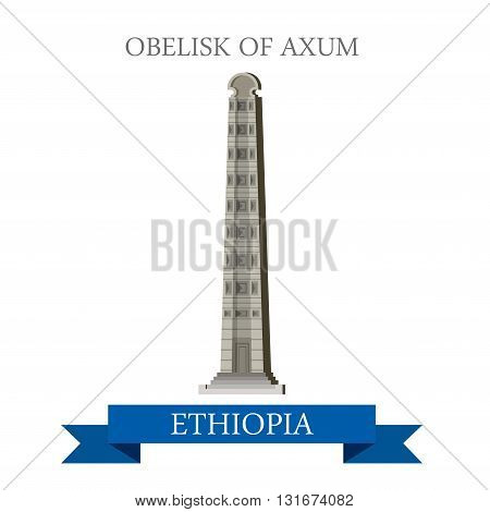 Obelisk of Axum Ethiopia vector flat Africa attraction landmarks