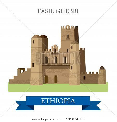 Fasil Ghebbi in Ethiopia vector flat Africa attraction landmarks