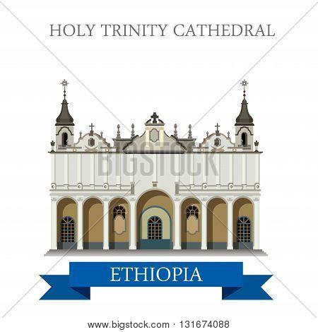 Holy Trinity Cathedral in Ethiopia vector flat Africa attraction