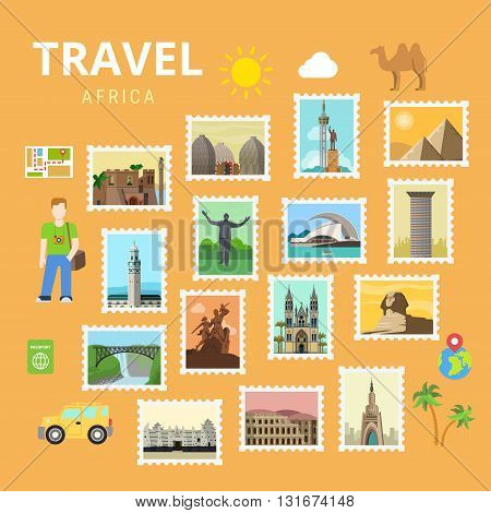 Travel Africa Egypt Pyramid Sphinx collage flat vector