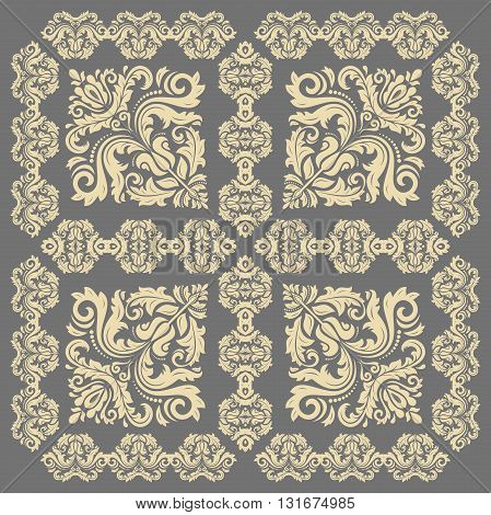 Oriental vector classic pattern. Seamless abstract background with repeating elements. Gray and golden pattern