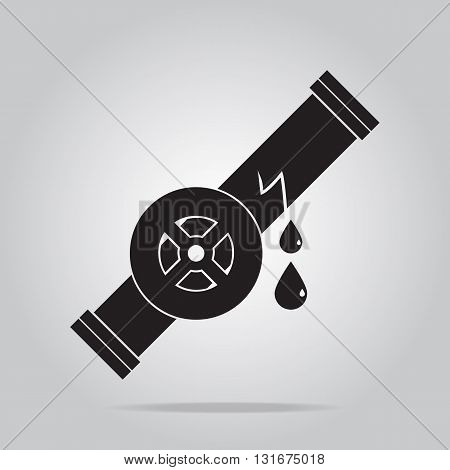 Water leak icon Pipe and valve icon sign vector illustration