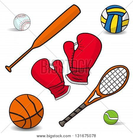 Volleyball, boxing gloves, a basketball, bat, racket, badminton. Set of simple icons flat sports equipment with the effect of shadows on a white background. Vector illustration.