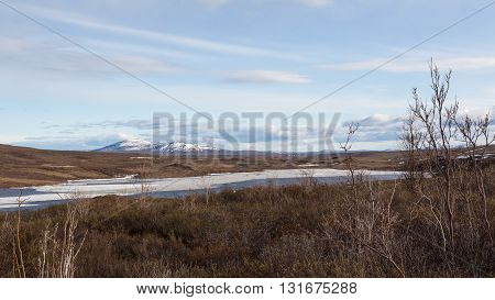 Mountains fields and waters along Alaska's Denali Highway