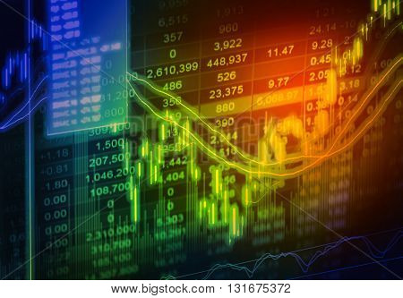 Financial Data On A Monitor,stock Market Data On Led Display Concept
