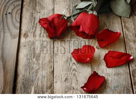 Two have wilted red roses and petals on a wooden table