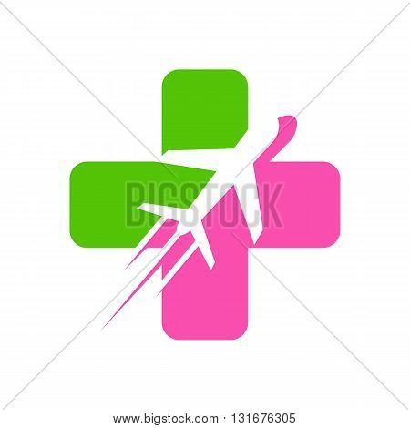 Vacation Travel Plane logo icon Medical vector