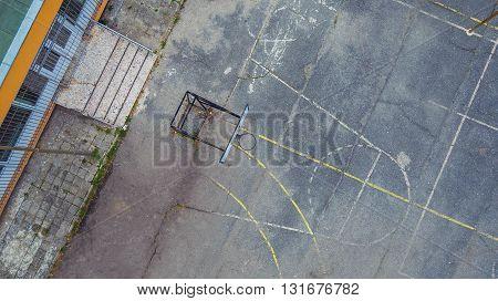 Aerial shot of school playground, basketball game