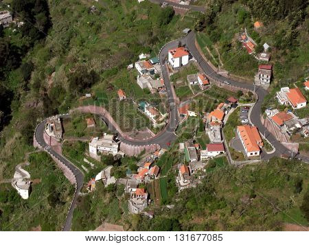 Ariel View of the Nuns Valley in Madeira from 1100 meters
