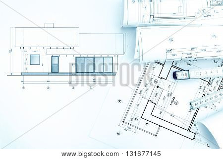 Architectural Drawings With House Plan And Folding Rule