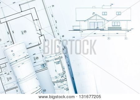 Architectural Technical Drawings With House Plan