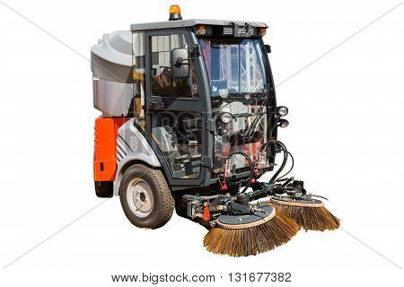 New street cleaner machine isolated on white background with clipping path