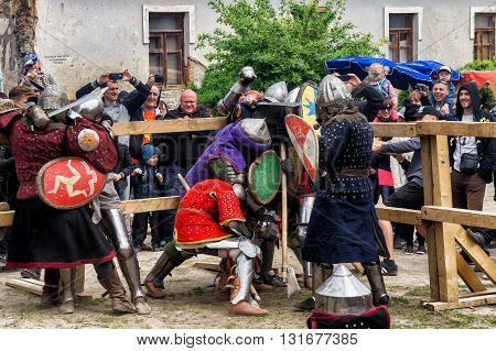 KAMYANETS PODILSKY, UKRAINE - May 9, 2016 : jousting battles festival of medieval culture of Outpost 2016 in Kamenetz-Podolsk on May 9, 2016, Kamyanets Podilsky, Ukraine