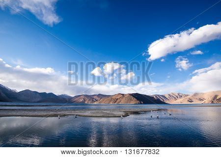 Pangong lake in Ladakh, India. This is famous spot near Tibet in Ladakh.
