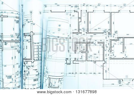 Blueprint Rolls And Technical Drawings On Architect Work Table