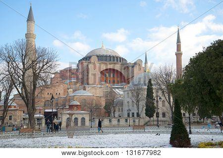 ISTANBUL, TURKEY - JANUARY 09, 2015: Mosque St. Sophia, sunny january day. Religious landmark of the city Istanbul