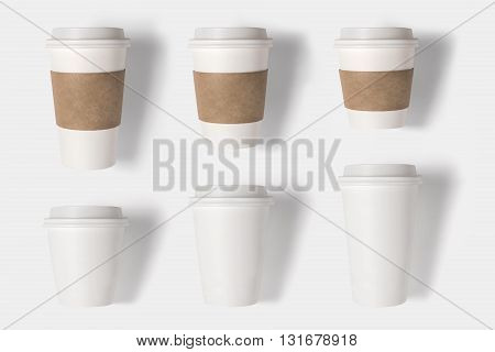 Design Concept Of Mockup Coffee Cup Set On White Background. Copy Space For Text And Logo