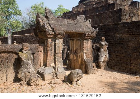 The ruins of the ancient gates of the temple Wat Khao Suwankhiri. Si Satchanalai, Thailand