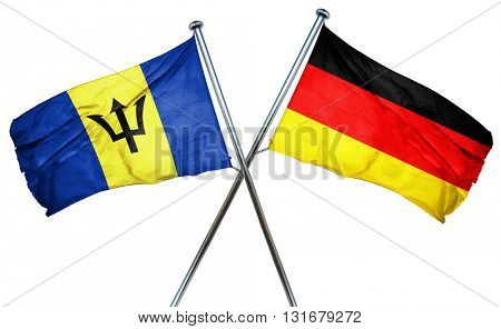 Barbados flag  combined with germany flag, 3D rendering