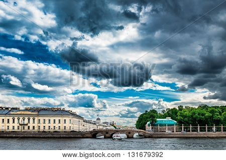 View fron Neva river to Prachechny Bridge on summer day St. Petersburg Russia.
