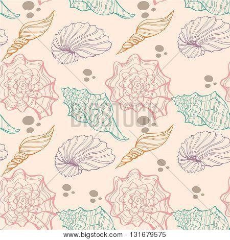 Seashell vector pattern. Hand drawn vector sketch