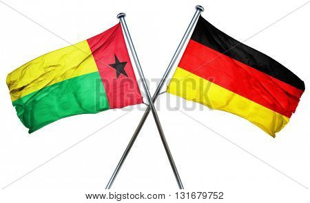 Guinea bissau flag  combined with germany flag, 3D rendering