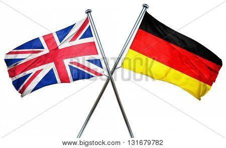 Great britain flag  combined with germany flag, 3D rendering
