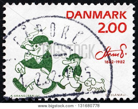 DENMARK - CIRCA 1982: a stamp printed in Denmark shows Peter and Ping the Penguin Character by Robert Storm Petersen Cartoonist circa 1982