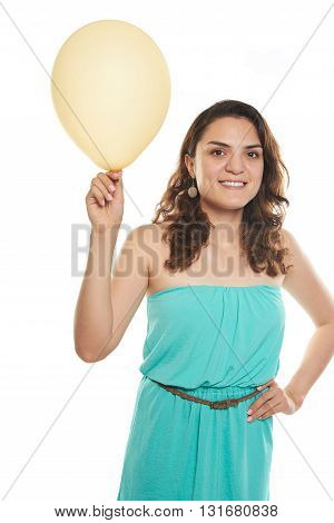 Young Woman Holding Balloon