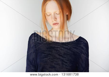 Portrait Of Beautiful Slim Young Woman With Ginger Hair And Perfect Healthy Skin With Freckles, Wear