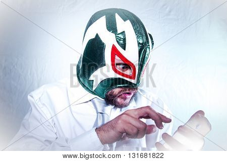 Time, angry businessman with Mexican wrestler mask, expressions of anger and rage