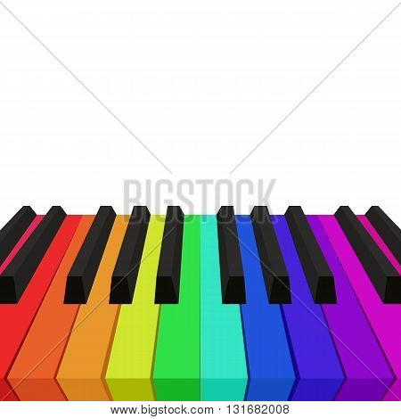 Illustration of rainbow colored piano keys. Vector element for your design