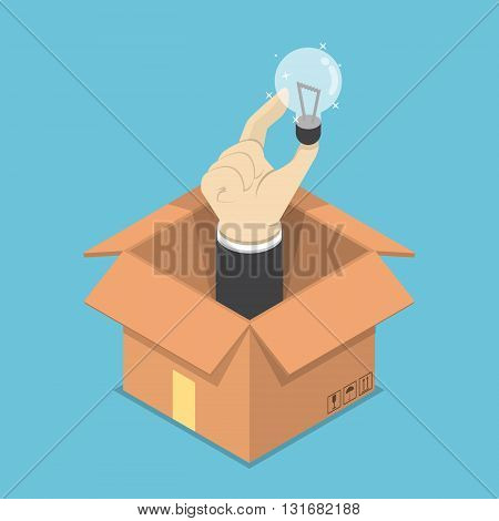 Isometric Hand Holding Light Bulb Of Idea Sticking Out From The Box