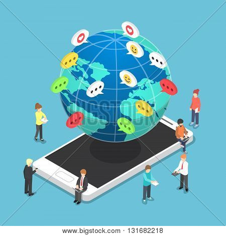 Isometric People Chatting To Other Through Electronic Devices