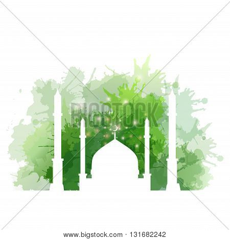 Illustration of Muslim mosque with watercolor splashes. Vector element for your creativity