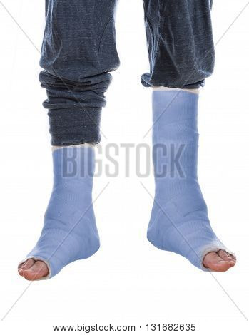 Young Man With Two Blue Leg Casts